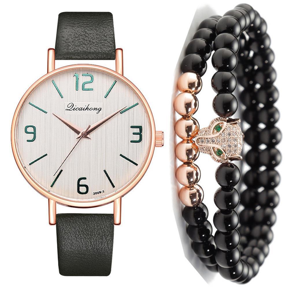 Man Concise Belt Quartz Wrist Watch + Bracelet Suit ( 3pcs / Set ) Watches For Men