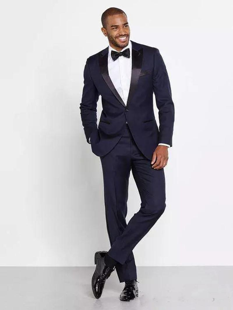 Nouvelle Personnalisé Marine Bleu Hommes Costumes De Mariage De smoking Un Bouton Peak Revers Slim Fit Costumes Groomsmen Costumes De Prom Wear (Veste + Pantalon) 591