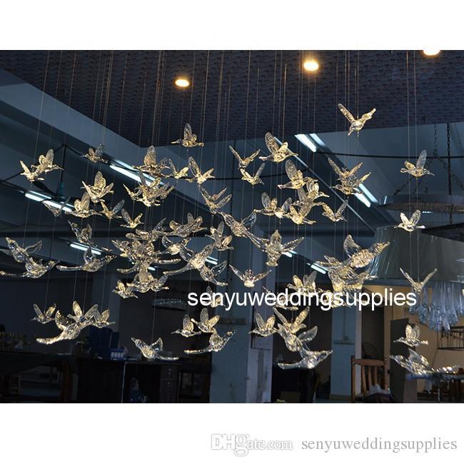 High Quality Wedding Decoration Hanging Plastic Acrylic Flying Bird Wedding Backdrop senyu0204