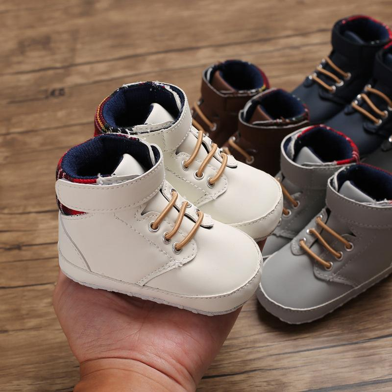 Wholesale 50 Pairs Fashion High Top Sneakers Baby Boys Girls Shoes Canvas Newborn Infant Toddler Soft Sole No-slip Prewalkers