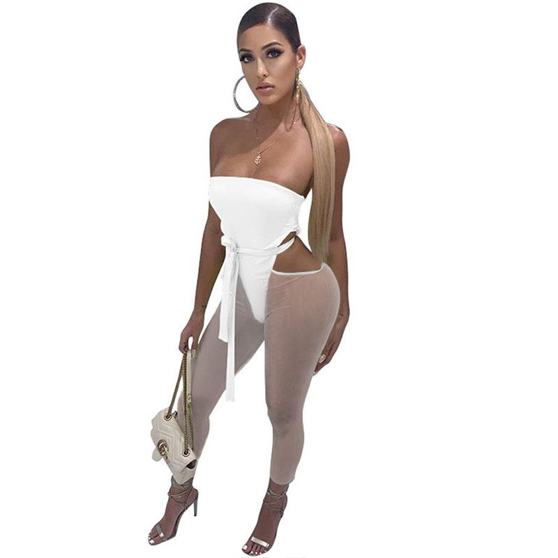 Sexy Strapless Backless Bodycon Bandage Jumpsuit Mulheres Cut Out magro tornozelo-comprimento Pants Romper Party Club Macacões One Piece