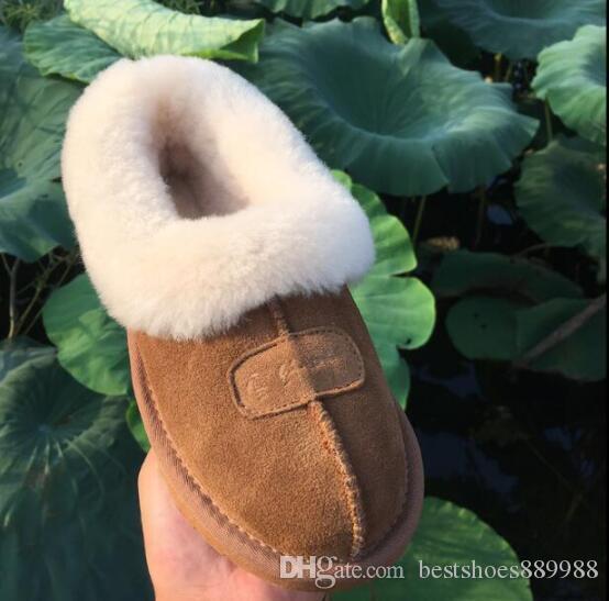 Caliente diseñador de ventas Australia invierno cubierta de pelo U 100% cuero auténtico calientes diapositivas Inicio Zapatos de lujo G zapatos de diseño Tamaño EU34-45