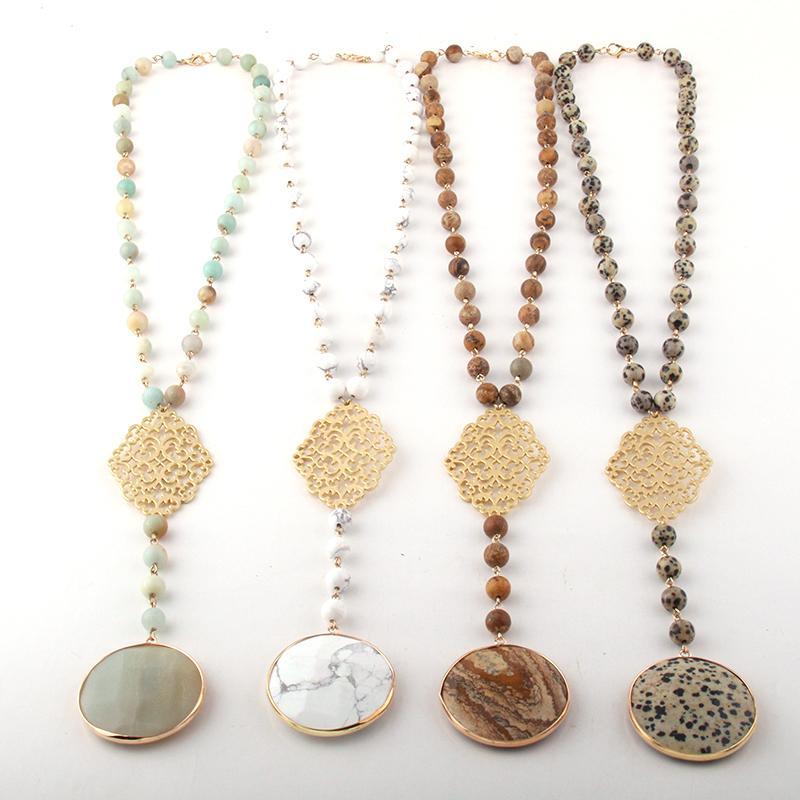Moda Bohemian Pedras Jóias Rosário Cadeia De Metal Grade Ligação Pingente Colares Para As Mulheres Étnicas Colar