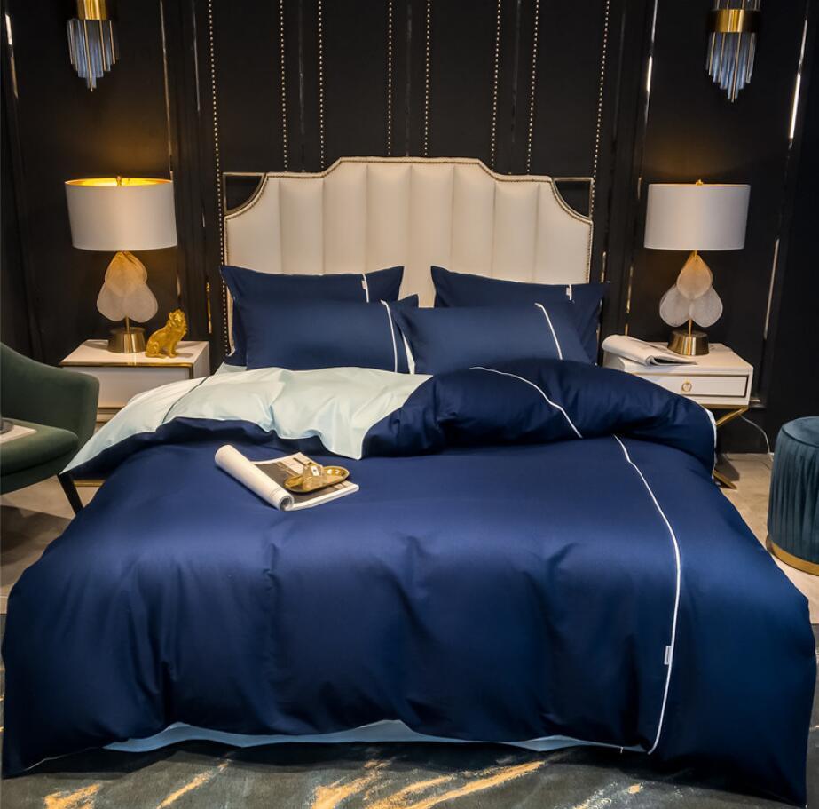 순수한 색 이불 커버 침대 시트 리넨 코튼 로얄 블루 침대 덮개 매트리스 킹 퀸 사이즈 침구 홈 섬유를 설정 포함