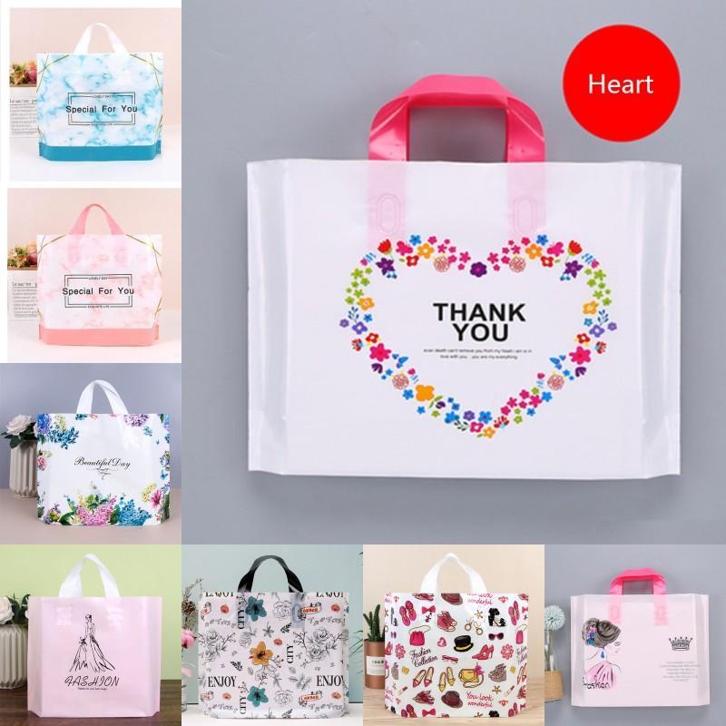 Sac de vêtements en plastique avec poignée Shopping Sac de forfait Merci spécial pour votre sac de cadeau en plastique transparent sac de cadeau imprimé dessin animé