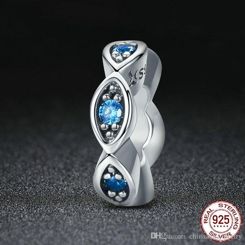Echtes 100% 925 Sterling Silber lucky Blue Eye Glitzernde CZ Spacer Charme-Korne der ursprüngliche Frauen-Armband Handmade Silber Schmuck