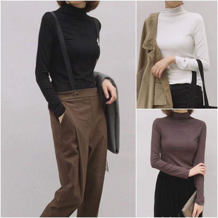 Dolcevita manica lunga di base delle donne camice della camicetta 2020 Primavera coreano tendenza di moda elastica Comfort elegante Tops donna abbigliamento