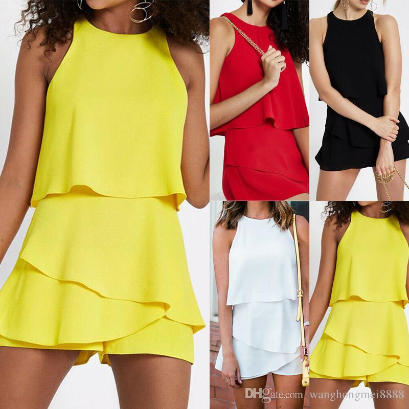 Il modo casuale delle signore delle donne Playsuits vacanze Mini Playsuit pagliaccetti della tuta del Summer Beach Shorts Bianco Giallo Rosso Nero