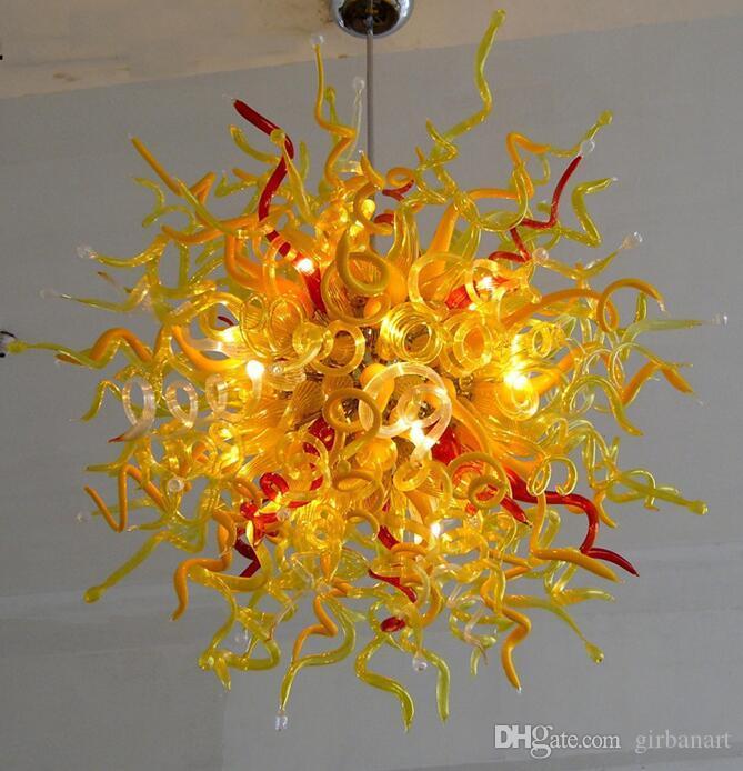 Lampes AC 110V / 240V Plafonnier de plafond Art Grossiste Moderne Main Soufflé Glouse Flower Lustre avec ampoules à LED