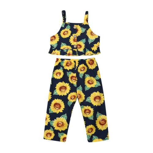 Estate 1-5years bambino Kid estate delle neonate canotte girasole ghette Giallo Set Outfit