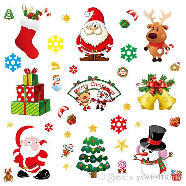 Merry Christmas Window Stickers Gold Wall Decals Xmas Party Home Decor Removable