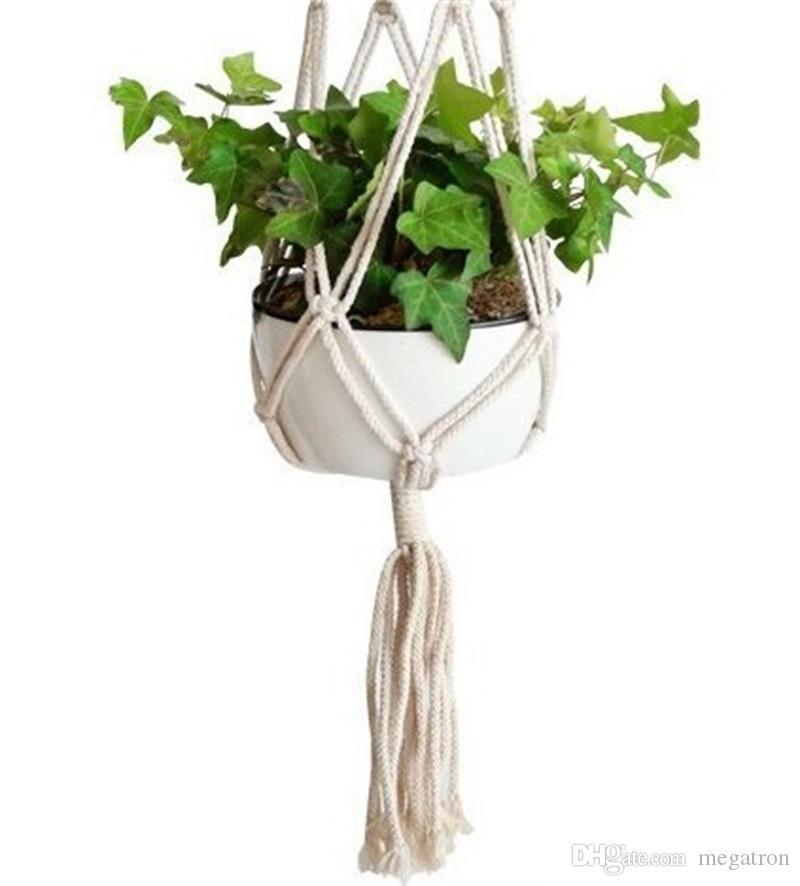 Planta gancho de la suspensión del pote de flor hecha a mano tejido de punto fino Natural Cordelería Planter titular Cesta Inicio Jardín Balcón Decoración