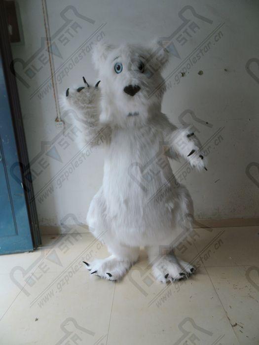 costumes blanc longue mascotte d'ours polaire en peluche fourrure nouvel acteur de marche de l'ours blanc de bande dessinée STAR POLE MASCOT COSTUMES