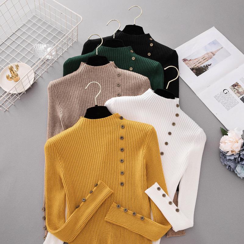 Botón nuevo de la manera del cuello alto suéter de las mujeres del otoño del resorte sólido de punto suéter de las mujeres delgado puente suave suéter Mujer punto las tapas Y200116