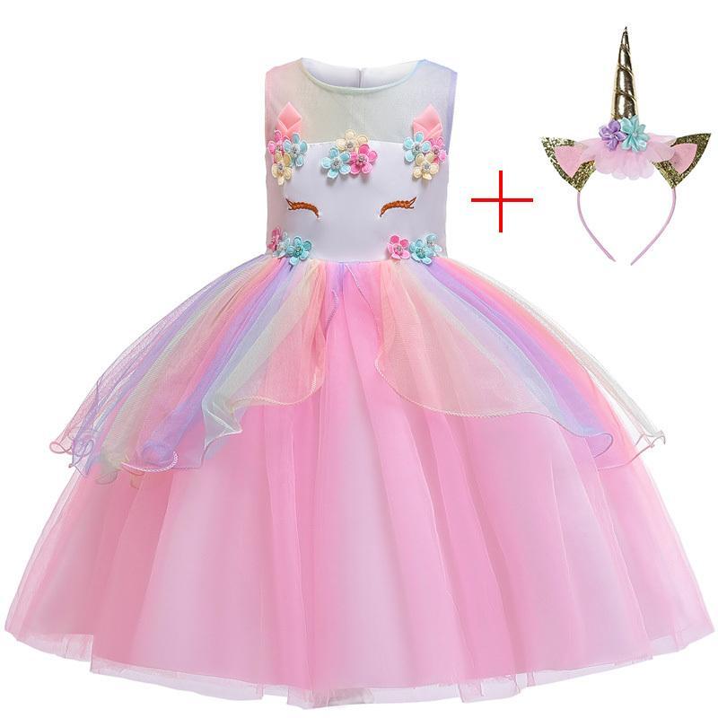 Nova 2019 arco-íris Princesa Partido de aniversário de criança Crianças Meninas Unicorn Tutu Vestido de Natal Vestido do carnaval Meninas casamento traje T200624
