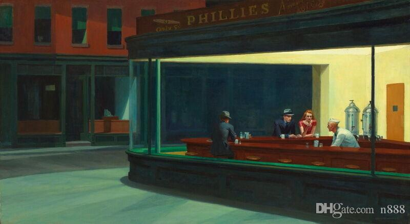 Edward Hopper Nachtfalken Wohnkultur Handbemalte HD-Druck-Ölgemälde auf Leinwand-Wand-Kunst-Leinwandbilder 200208