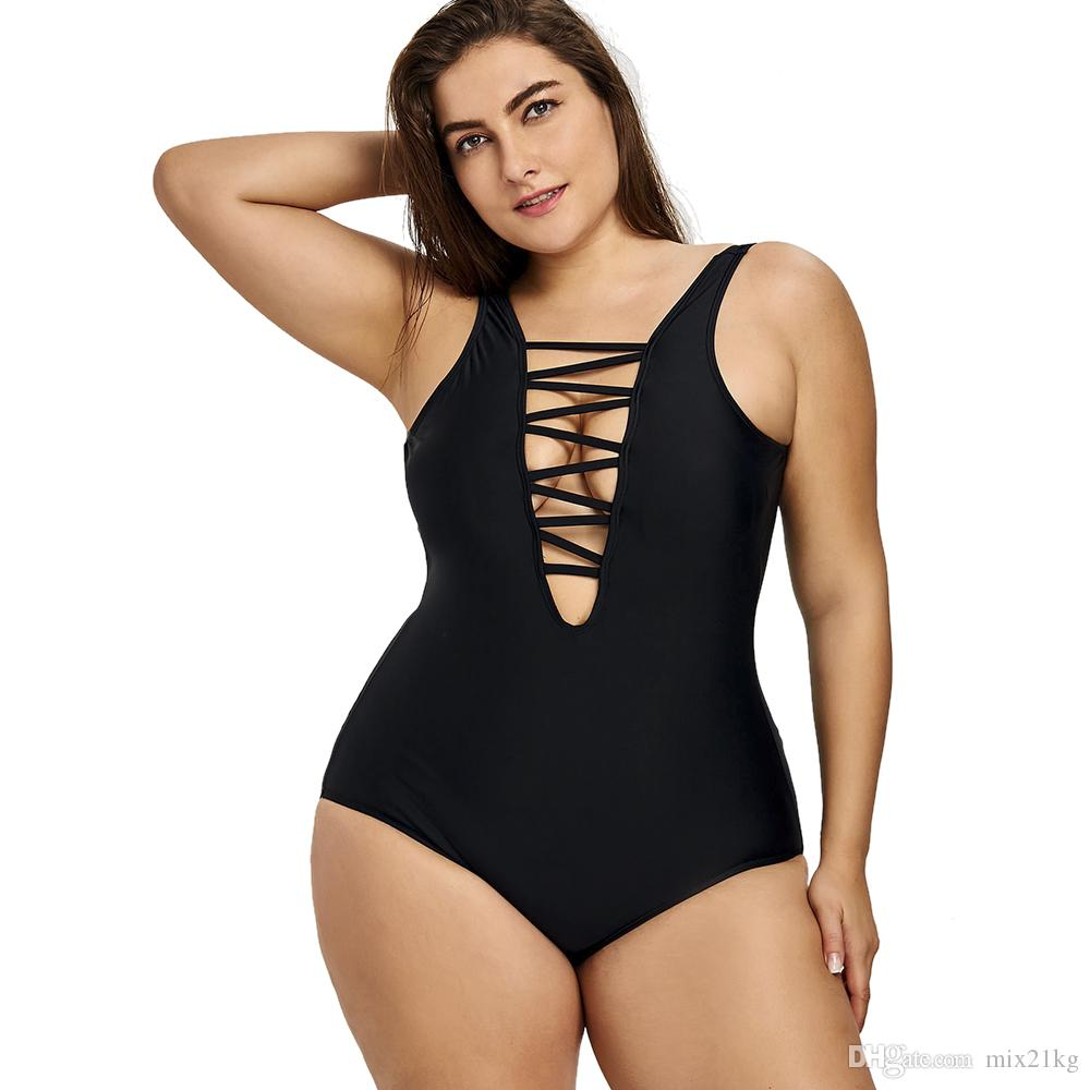 98748c2b16 2018 Plus Size One Piece Swimsuit Women Lace Up Backless Swimwear Large  Sizes Bathing Suit Beachwear Black Swimsuit