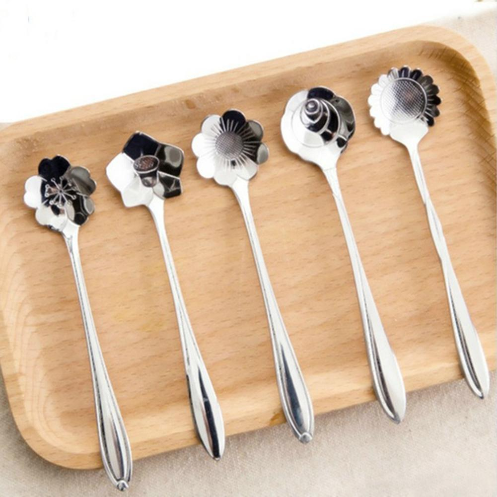 5pcs Creative Fleurs en acier inoxydable Forme Café Thé Lait Cuillère Cuillères crème glacée Dessert Soda Cuiller Vaisselle outil de cuisine