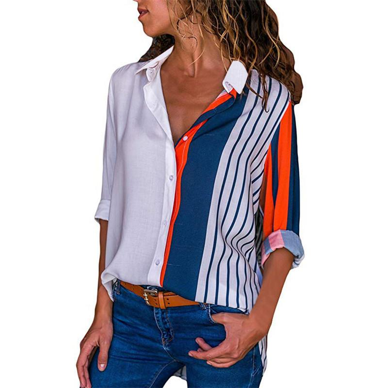 Blouse Women Shirt Casual Long Sleeve Stripe Button Turn-down Female Shirts Tops Blouse Leisure Office Ladies Workwear