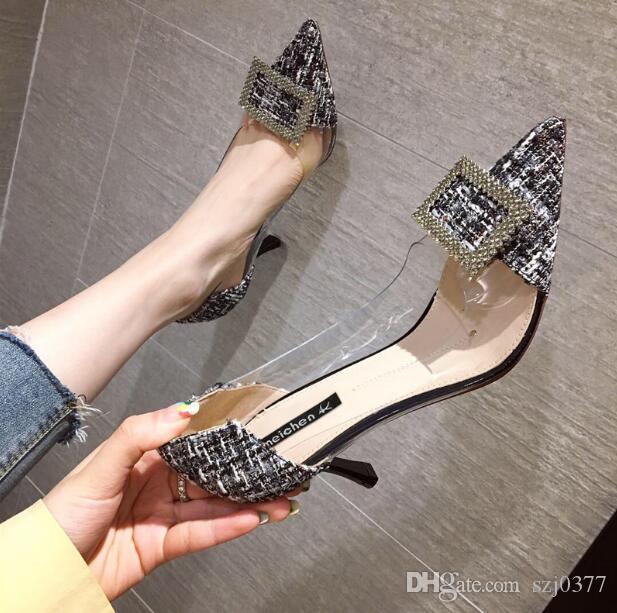 Designer Frauen-Absatzschuhe kleines frischen sexy Stiletto-Kleid-Schuhe Slip-On Promi Middle Ferse 7 cm spitze Zehen Partei Schuhe mit Kasten