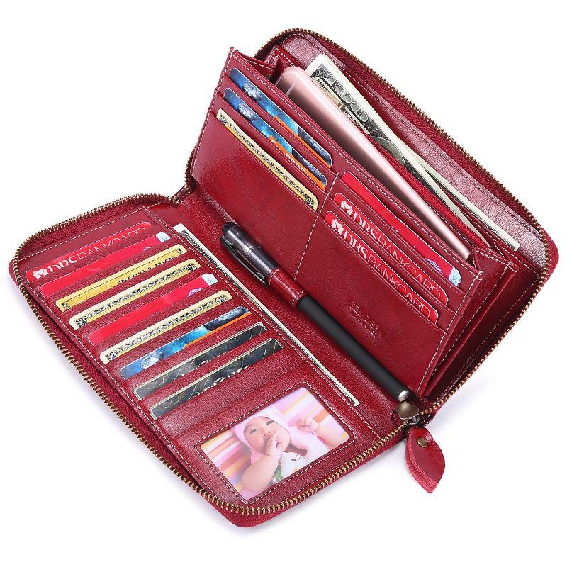 Designer-LJL-Sendefn Brand Women' Wallet Ladies Luxury Purse Long Wallets Soild Female Fashion Leather Clutch Zipper Bag 7Plus 5054H-
