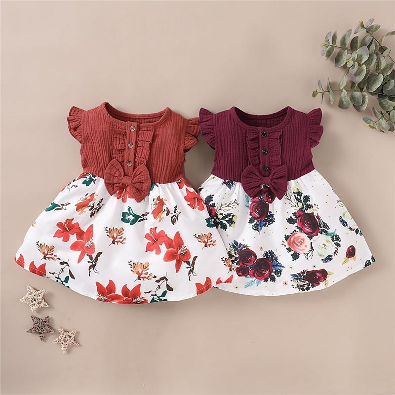 أحدث ins الفتيات الصغيرات فساتين الكشكشة يطير كم الكتان القطن الأزهار المرقعة الأطفال اللباس الاطفال بوتيك الملابس
