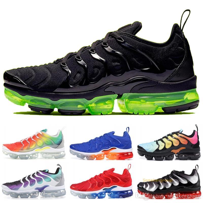 2020 TN Plus Rainbow Running Shoes Men Women Grape Black Volt Sole Ultra White Black Stylist Shoes Sport Sneakers Trainers 5-11