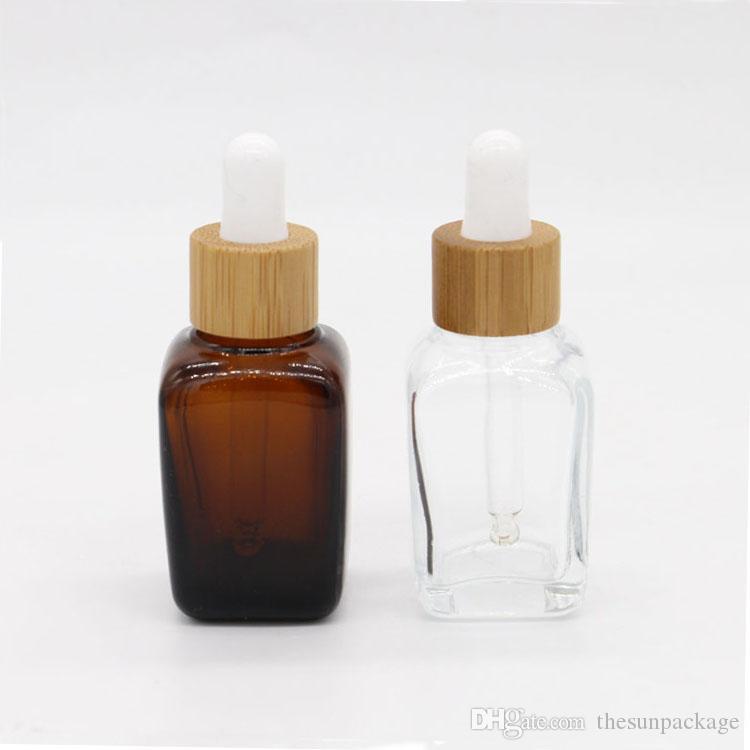 30 ml Bambu uçucu yağ şişesi cam damlalık boş şişeler 20 ml amber stokta ahşap kap ile