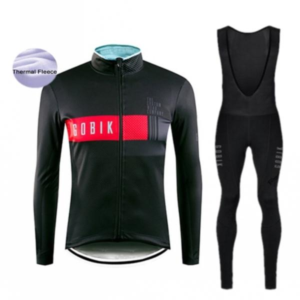 Gobike inverno in bicicletta jersey set manica lunga bike vestiti termali in pile roupa de ciclismo invirio hombre mtb abbigliamento biciclette