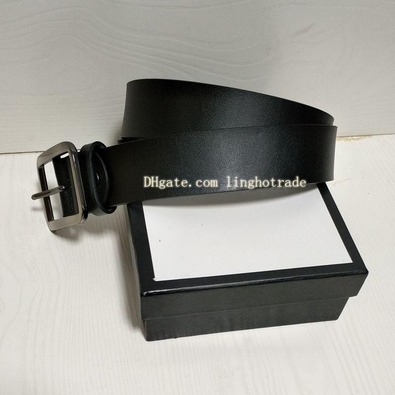 الموضة أحزمة أحزمة حقيقية جلد النساء حزام حزام الكلاسيكية الصلبة الذهب سلاسة كبيرة إبزيم الحزام الأسود 2.0 / 3.0 / 3.4 / 3.8CM عرض مع صندوق