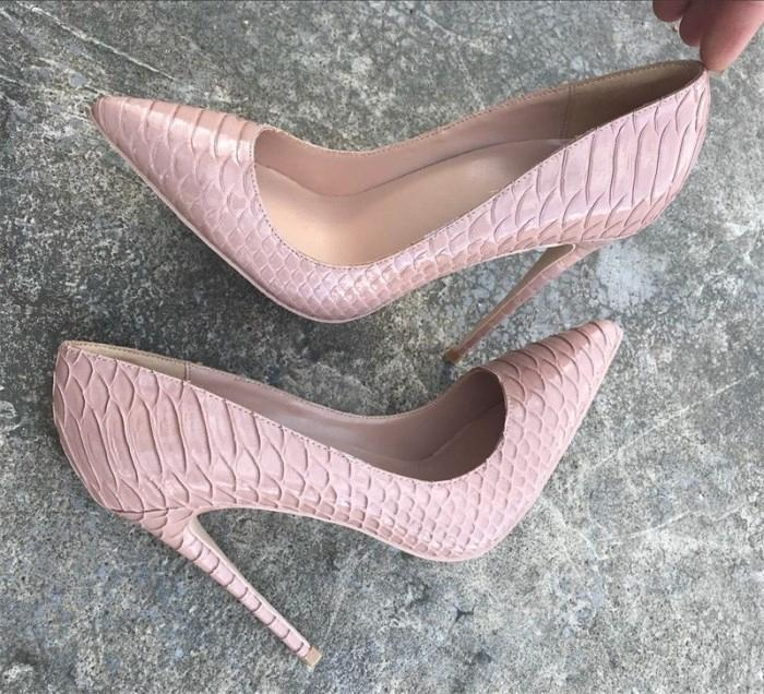 Europe and America new fashion naked color snake high heel shoes 12cm sharp pointed shoes black snake pattern 43 yards 44 yardscff2#