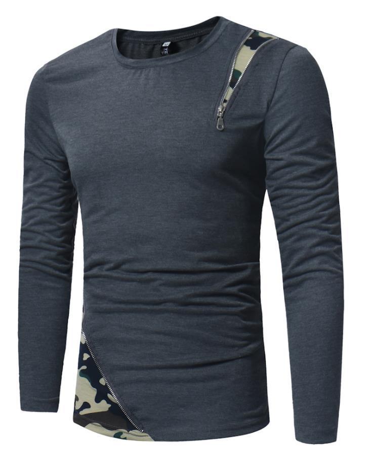 목 O 2019 남성 티셔츠 긴 남자 남자 스포츠 t- 셔츠를위한 디자인면 슬림핏 지퍼 패널로 위장 패턴 슬리브