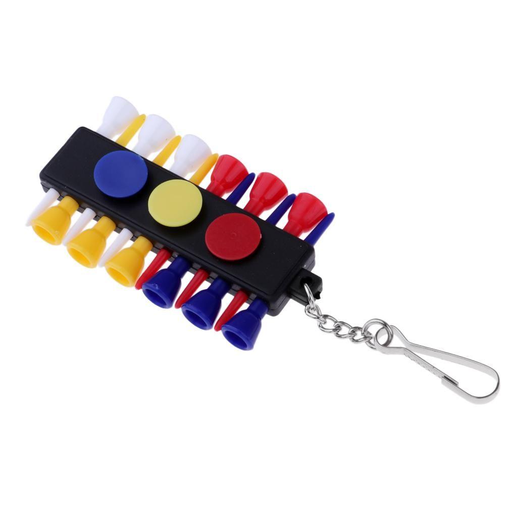 Portable Holder Tee Golf Caddy Keeper 12 Tees 3 palla Marcatori set con portachiavi portachiavi Golf accessori qUkQW