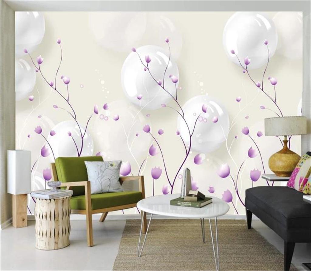 White Ball Purple Flower 3D Wallpaper Background Digital Printing HD Decorative Beautiful Wall paper
