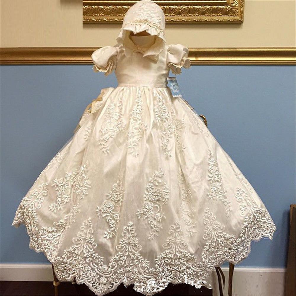 New Baby Dress Solid Formal Половина Puff рукава A-линия O0neck Lace крестины платье Vestidos Infantis Baby Girl Крещение платья