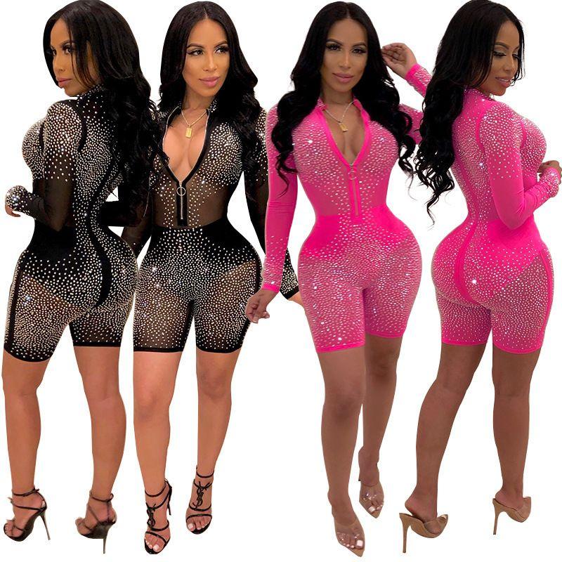 Sexy Women Mesh Glitter Rhinestones Playsuit Pantalones cortos Summer Transparent Zipper Jumpsuit Romper 2019 Long Sleeve Night Club Y19071801