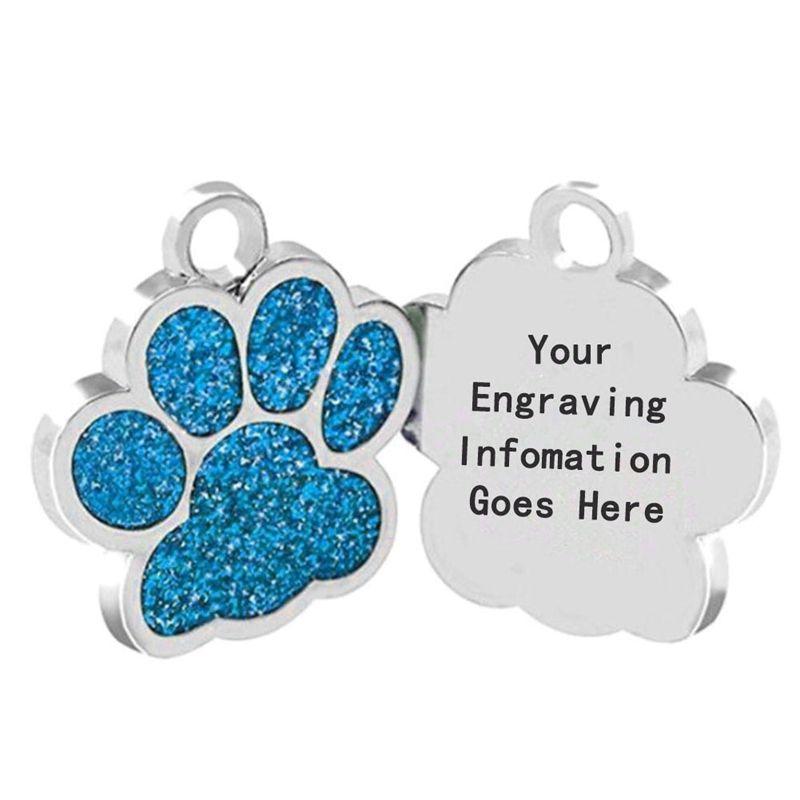 O transporte da gota Forma Dog ID Tag Gravado Dog ID Tag Nome Pet Collar Pingente Livre Gravar Nome e Número de Telefone