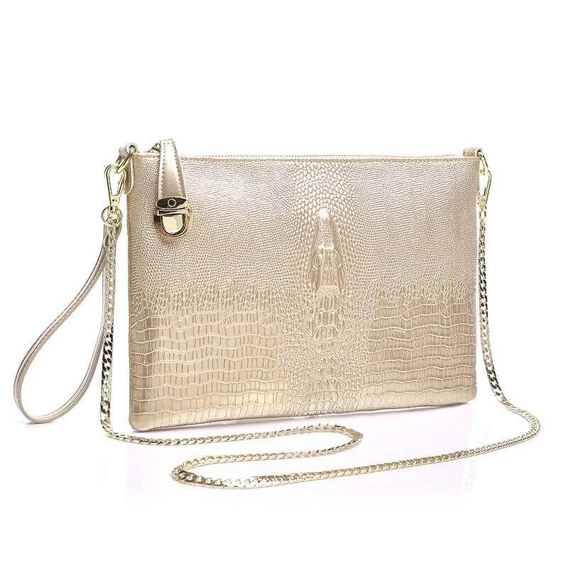 Yeni kilit zinciri Timsah derisi kadın tasarımcı çanta bayan inek deri omuz crossbody çanta kadın moda rahat kavramalarını