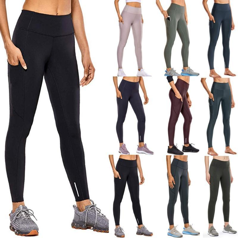 High Waist Fitness Legging Frauen Taschen Gymnastik-Sport-Bleistift-Hosen Jogging Push Up nahtlose Legging Mujer Sweatpant dünne Hosen