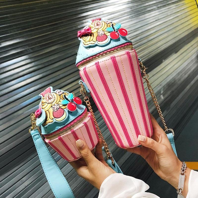 Kadınlar küçük kız Sevimli Pembe Para Cüzdan Omuz Şeker Beach Tatil Çanta için özel Tasarımcı Çantası Dondurma Çantası Şekli