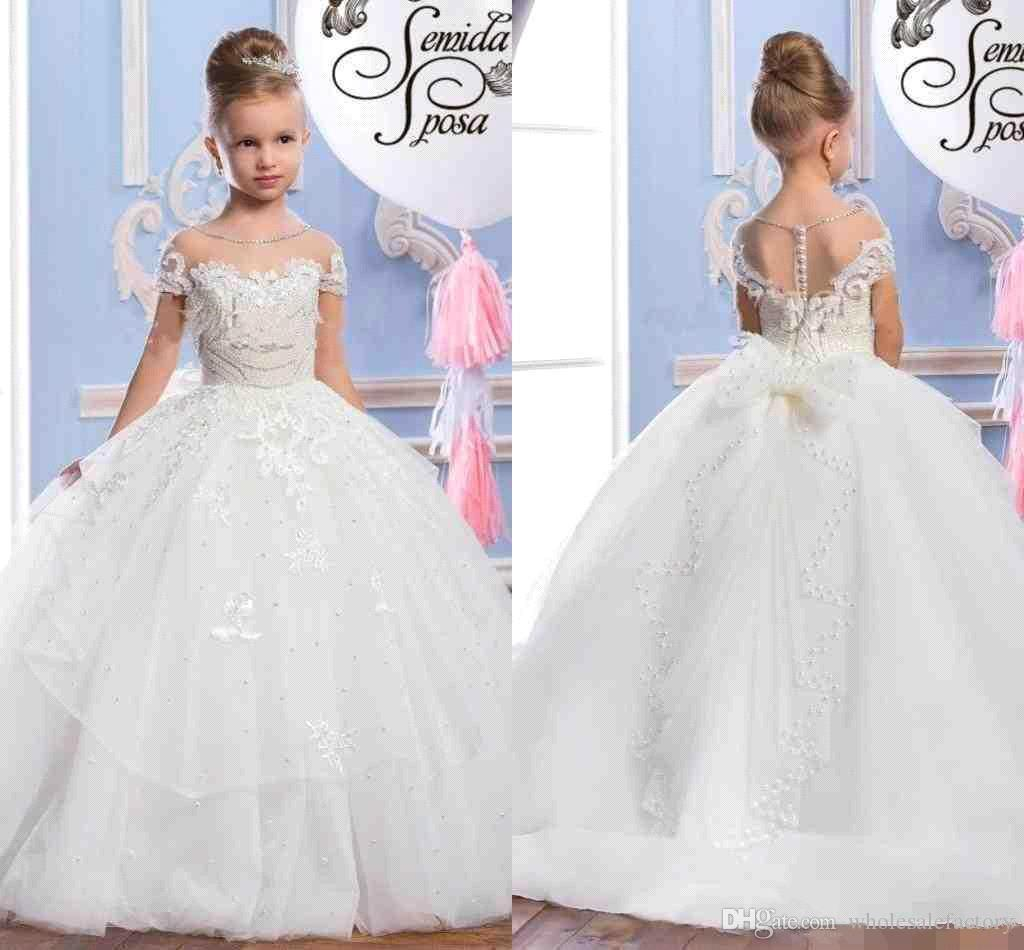 Sheer Short Sleeves Lace A Line Flower Girls Dresses Tulle Applique Beaded Ruffles Princess Birthday Girls' Pageant Party Dresses BA5120