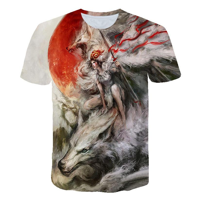 Fashion Couple Angel and Lonely Wolf Summer Short Sleeve T-shirt Korean Edition Trend 3D Digital Printing Fashion Patterns