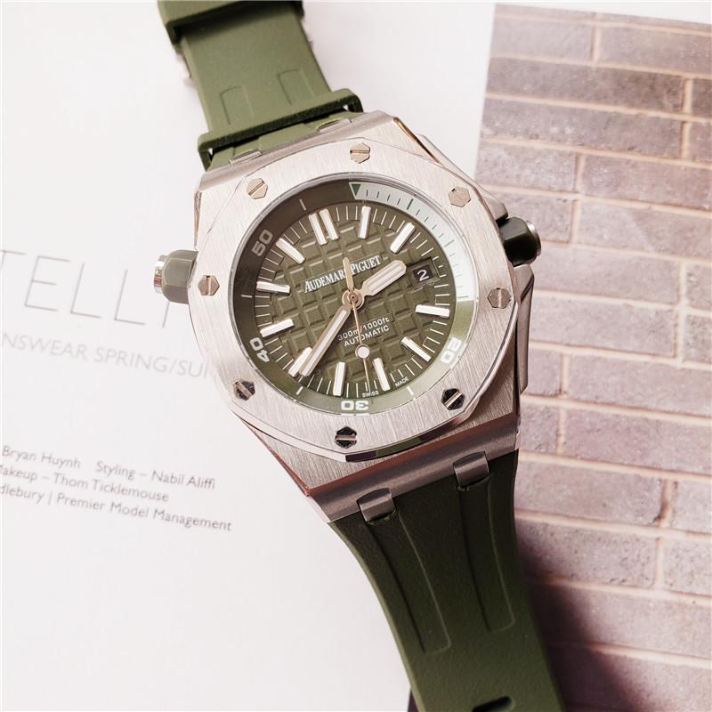 2020 새로운 패션 높은 품질의 고급 자동 기계 고무 밴드 그린 스포츠 군인의 시계 남성 남성 시계 reloj 시계
