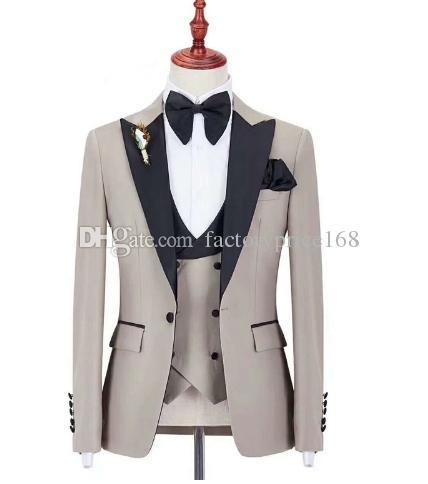Moda Bir Düğme Groomsmen Tepe Yaka Damat Smokin Erkek Takım Elbise Düğün / Balo / Akşam Yemeği İyi Adam Blazer (Ceket + Pantolon + Kravat + Yelek) AA221