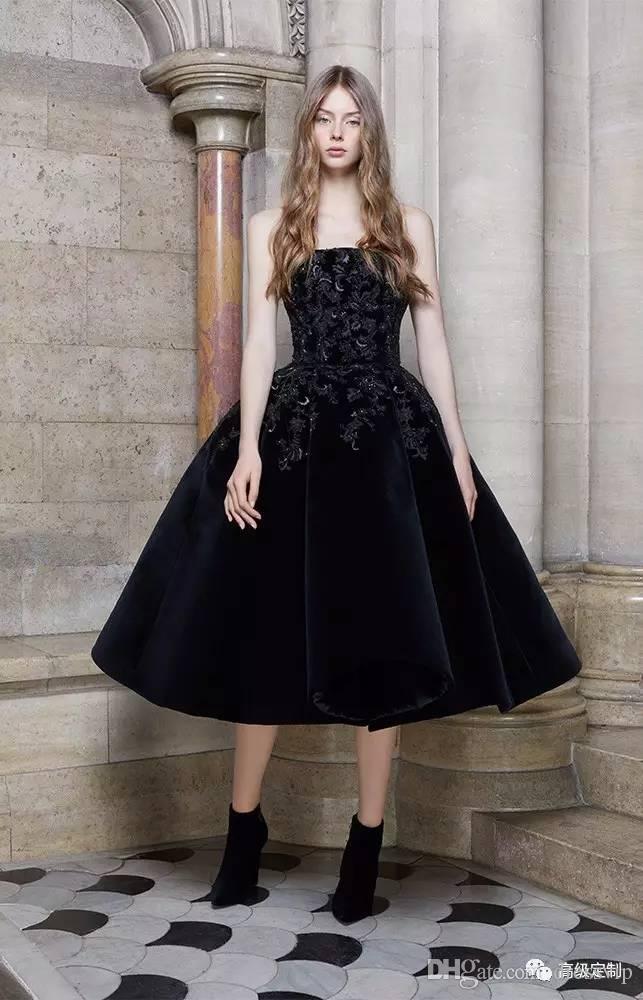 Elie Saab Schwarze Abendkleider Liebsten A Line Spitze Appliqued Custom Made Tee Länge Cocktailkleid Samt Formale Abendkleider