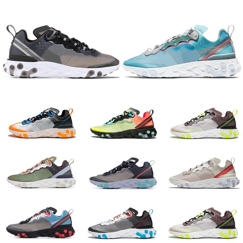 Nueva Reaccionar Elemento 87 Undercaver de los zapatos corrientes para los hombres de las mujeres de vela real para hombre transpirable antracita Tint Formadores Ligera Deportes zapatillas de deporte