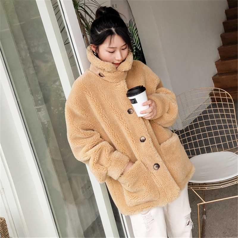 Veste en laine fourrure femmes épais manteaux de chaud Taille Plus 2020 Nouveau Streetwear Mode grande poche large waiste Motorcycle Fur Coat Femme