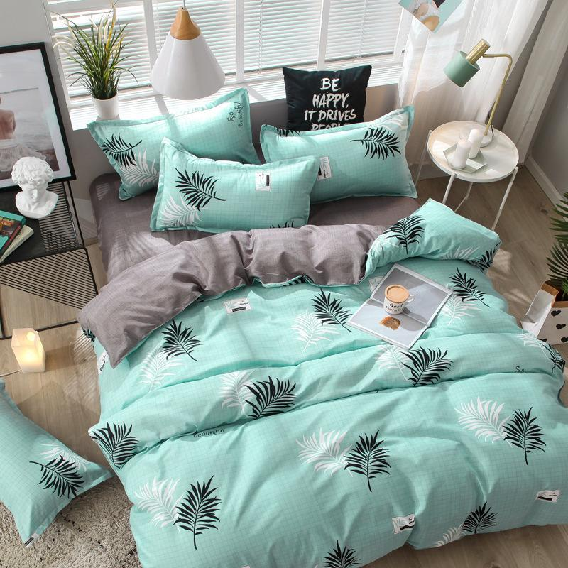 designer bed comforters sets Blue Pink Love Fashion Modern Bedding Set Bed Linings Duvet Cover Pillowcase Home Leaf Textiles blanket