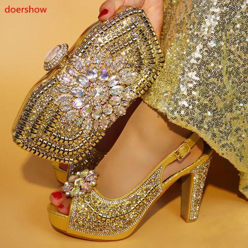 أحذية إيطالية لون الذهب الجديدة مع أكياس مطابقة المرأة الأفريقية أحذية وحقائب تعيين لحزب حفلة موسيقية الصيف صندل! Sms1-2