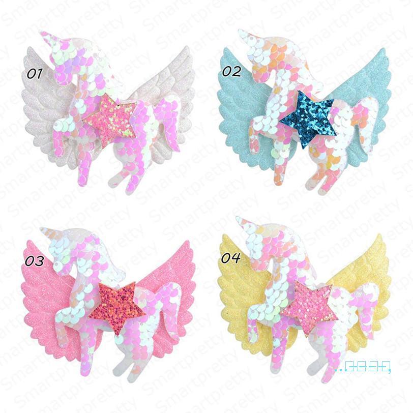 Kinder Mädchen Pailletten BobbyPin Haarpin Flügel Bogen Haarspangen Einhorn Pailletten Glitzer Spange Penta INS Headress Haarschmuck E4908